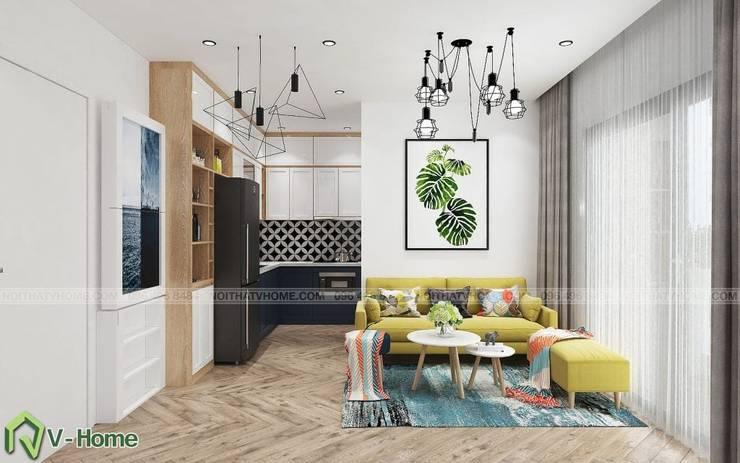 Thiết kế nội thất chung cư N02 – 259 Yên Hòa phong cách Scandinavian:  Living room by Công ty CP tư vấn thiết kế và xây dựng V-Home