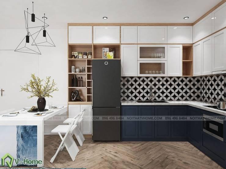 Thiết kế nội thất chung cư N02 – 259 Yên Hòa phong cách Scandinavian:  Kitchen by Công ty CP tư vấn thiết kế và xây dựng V-Home