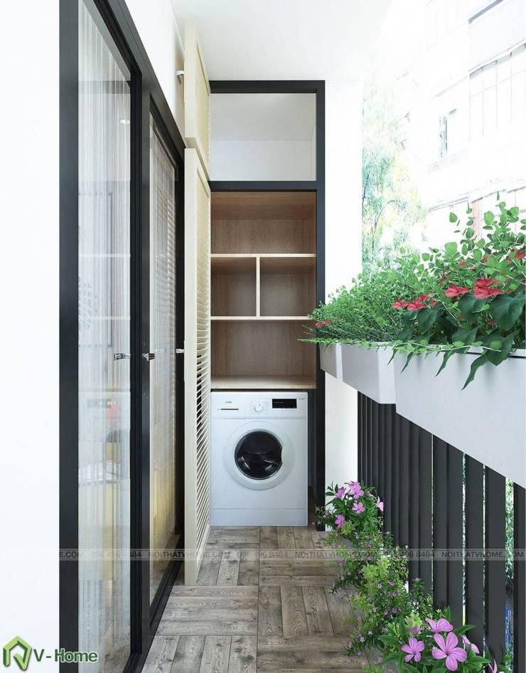 Thiết kế nội thất chung cư N02 – 259 Yên Hòa phong cách Scandinavian:  Balconies, verandas & terraces  by Công ty CP tư vấn thiết kế và xây dựng V-Home