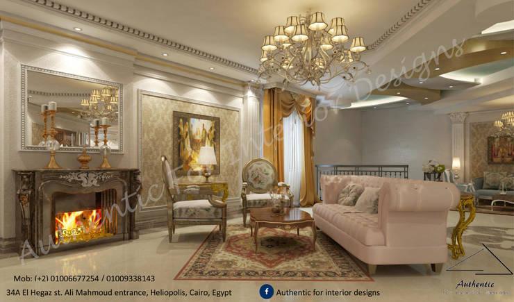 ريسيبشن على الطراز الكلاسيكي :  غرفة المعيشة تنفيذ Authentic for interior designs, كلاسيكي