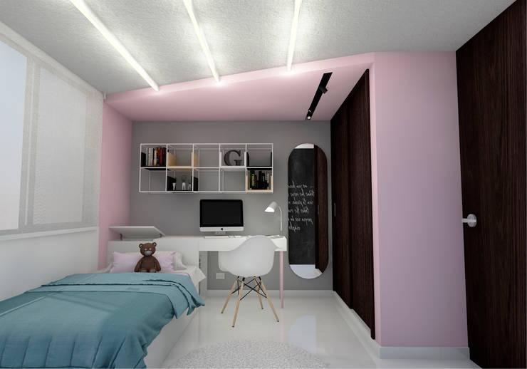 PALO DE ROSA: Habitaciones para niñas de estilo  por BICHO arquitectura, Moderno
