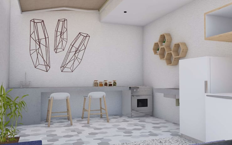 LOVIN' LOFT: Cocinas pequeñas de estilo  por BICHO arquitectura, Minimalista