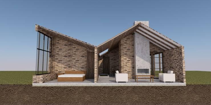 CASA TRES AGUAS: Casas campestres de estilo  por BICHO arquitectura, Rústico Ladrillos