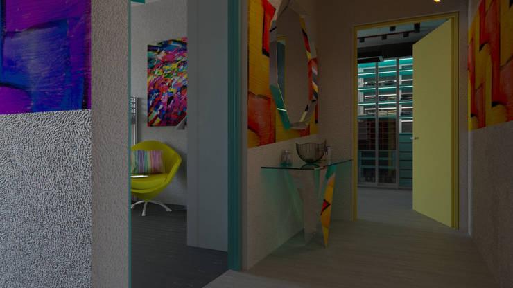 Pasillos, vestíbulos y escaleras modernos de Perfection A&D Moderno