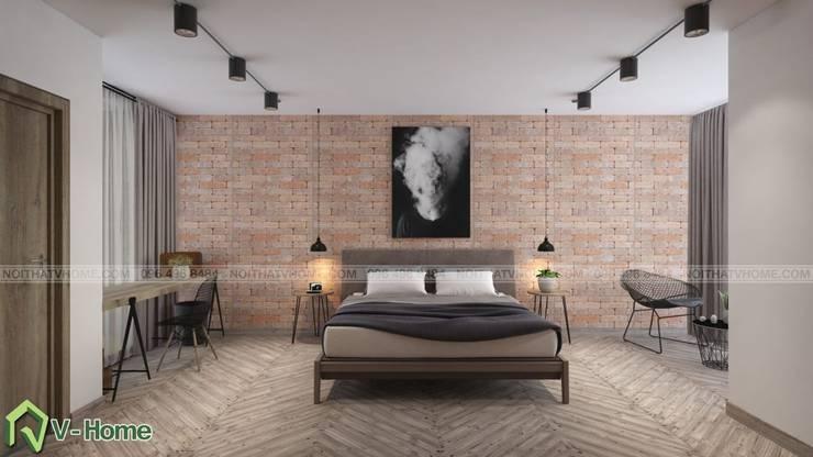 Thiết kế nội thất chung cư Iris Garden Mỹ Đình – C. Ngọc:  Living room by Công ty CP tư vấn thiết kế và xây dựng V-Home