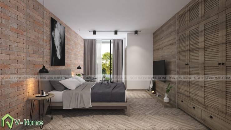 Thiết kế nội thất chung cư Iris Garden Mỹ Đình – C. Ngọc:  Bedroom by Công ty CP tư vấn thiết kế và xây dựng V-Home