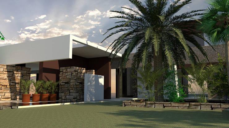 Acceso Principal: Casas unifamiliares de estilo  por diseño con estilo ... sas, Moderno