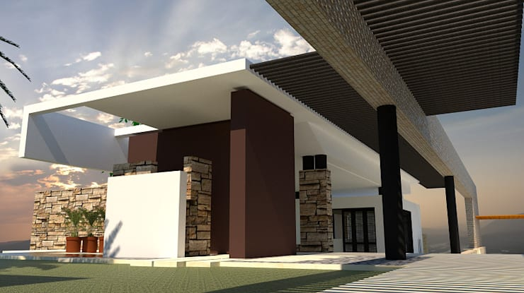 Acceso: Casas unifamiliares de estilo  por diseño con estilo ... sas, Moderno