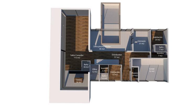 Casa de hormigón en Madrid modelo Marbella Plano 3D 1º planta de Trenta Casas Prefabricadas de Hormigón en Madrid Moderno