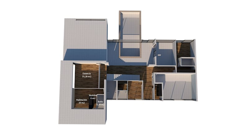 Casa de hormigón en Madrid modelo Marbella plano 3D 2ª planta de Trenta Casas Prefabricadas de Hormigón en Madrid Moderno