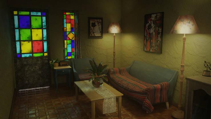 Vintage Living: Livings de estilo  por CrimsonViz,