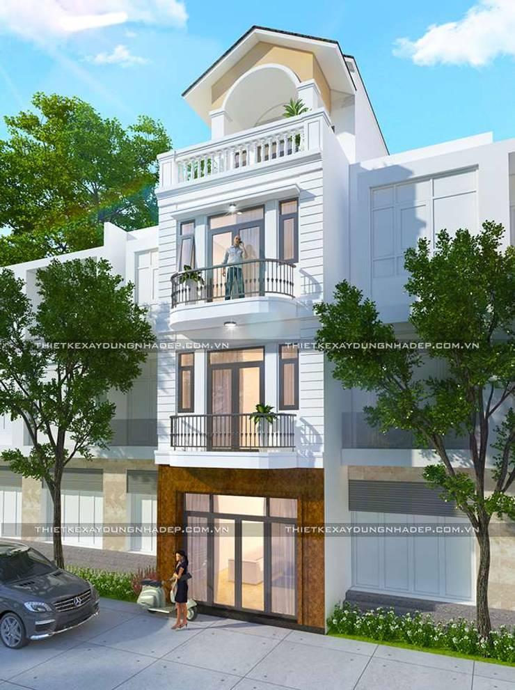 Mặt tiền nhà ống 4 tầng mái thái:   by Công ty cổ phần tư vấn kiến trúc xây dựng Nam Long