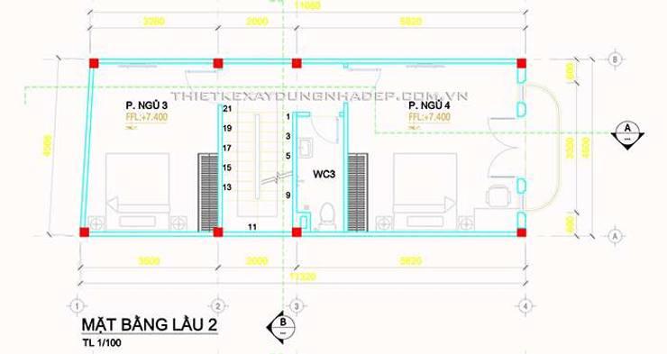 Mẫu nhà ống 4 tầng mái thái đẹp mộc mạc ở quận Thủ Đức:   by Công ty cổ phần tư vấn kiến trúc xây dựng Nam Long