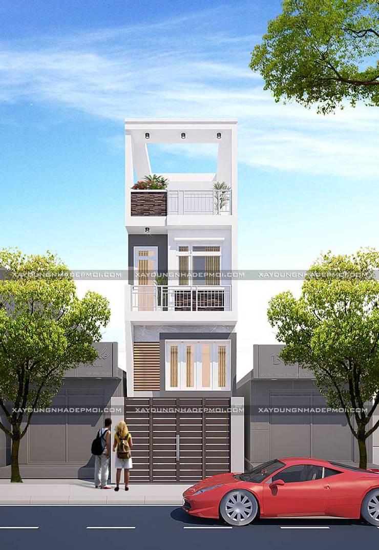 Mặt tiền nhà 1 trệt 1 lửng 1 lầu 1 sân thượng:   by Công ty xây dựng nhà đẹp mới