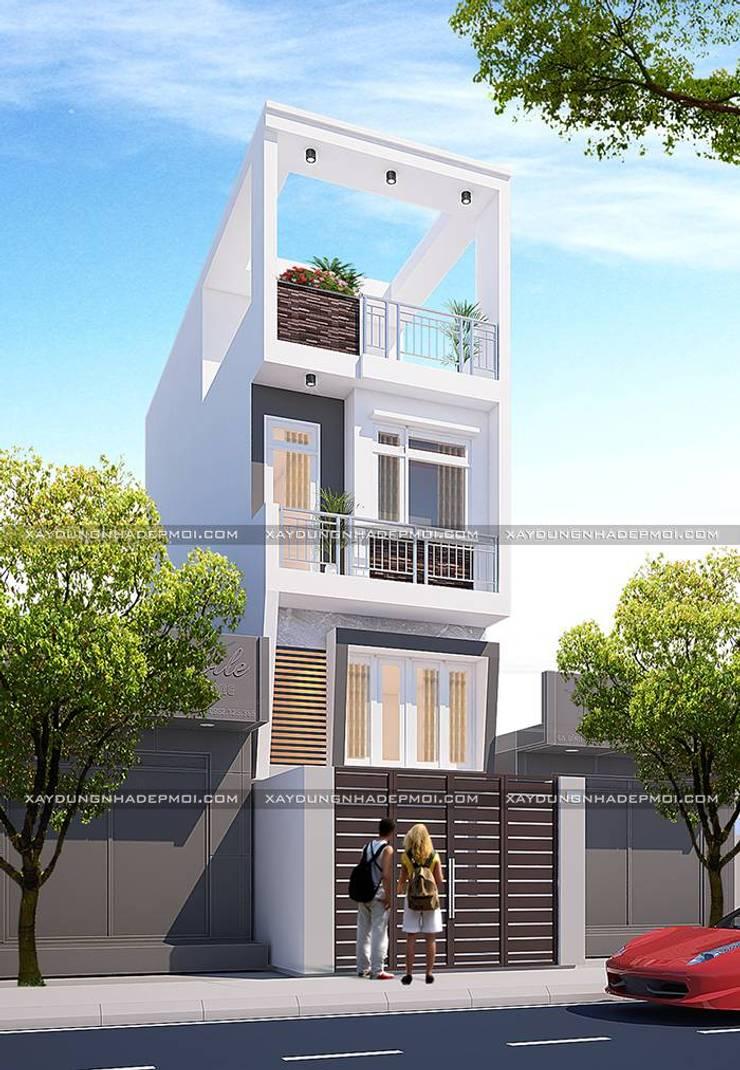 Nhà 1 trệt 1 lửng 1 lầu 1 sân thượng:   by Công ty xây dựng nhà đẹp mới