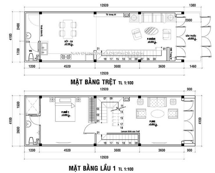 Mẫu thiết kế nhà 4x13 đẹp hiện đại, trẻ trung ở quận Gò Vấp:   by Công ty xây dựng nhà đẹp mới