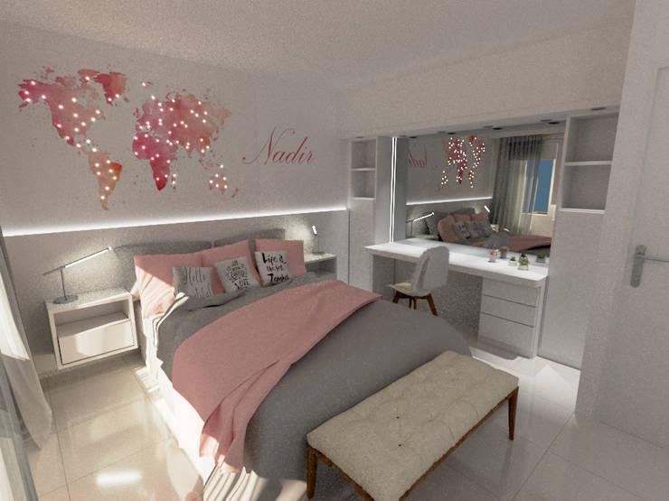 Habitación chica adolescente: Dormitorios de estilo  por Aida Tropeano & Asoc.,