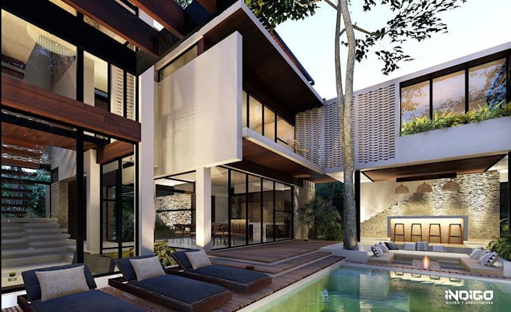 Piscinas infinitas de estilo  por Indigo Diseño y Arquitectura