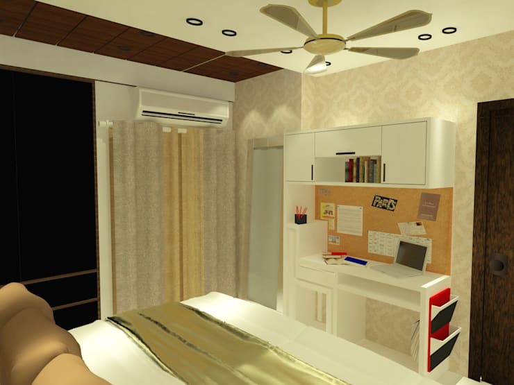 Daughter's Room with Study Table:  Bedroom by Inaraa Designs,Modern