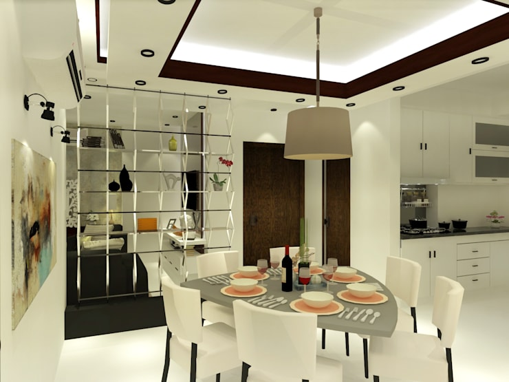 Dining Area for 6:  Dining room by Inaraa Designs,Modern
