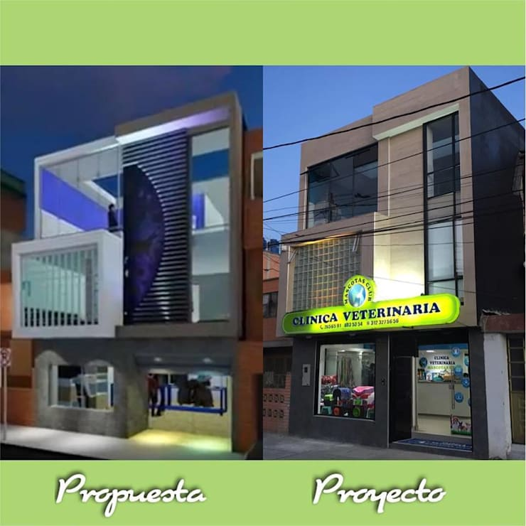 Clínica veterinaria mascotas club: Hospitales de estilo  por Lopez Robayo Arquitectos