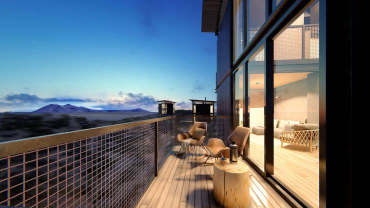 Cabañas estivales para alquiler: Balcón de estilo  por Arquitecto Manuel Morón,