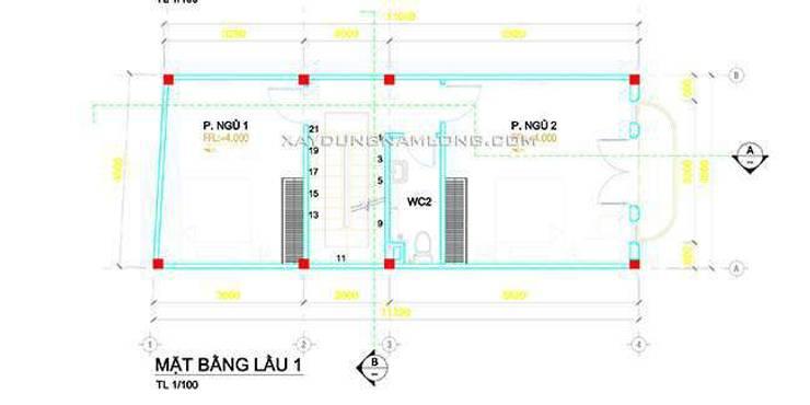 Mặt bằng lầu 1:   by Thiết kế nhà đẹp ở Hồ Chí Minh