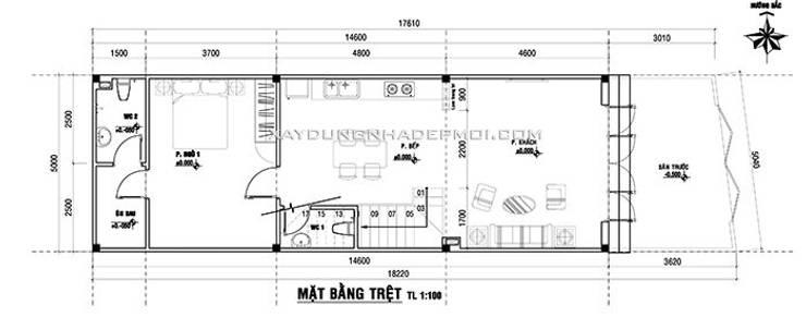Mặt bằng tầng 1:   by Công ty xây dựng nhà đẹp mới