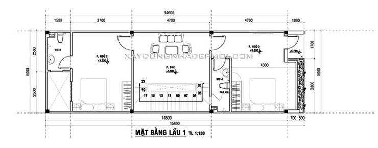 Mặt bằng tầng 2:   by Công ty xây dựng nhà đẹp mới