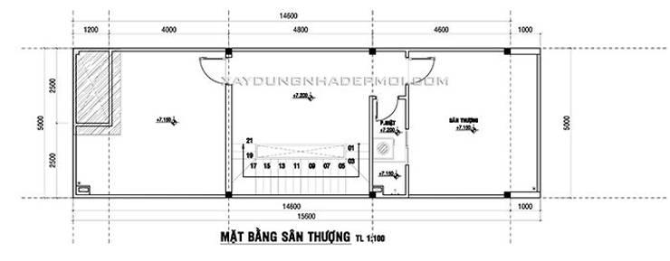 Mặt bằng tầng 3:   by Công ty xây dựng nhà đẹp mới