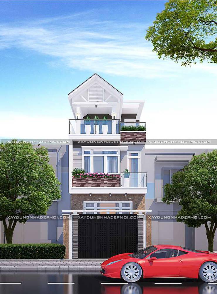 Mặt tiền mẫu nhà 3 tầng đẹp 5x18m:   by Công ty xây dựng nhà đẹp mới