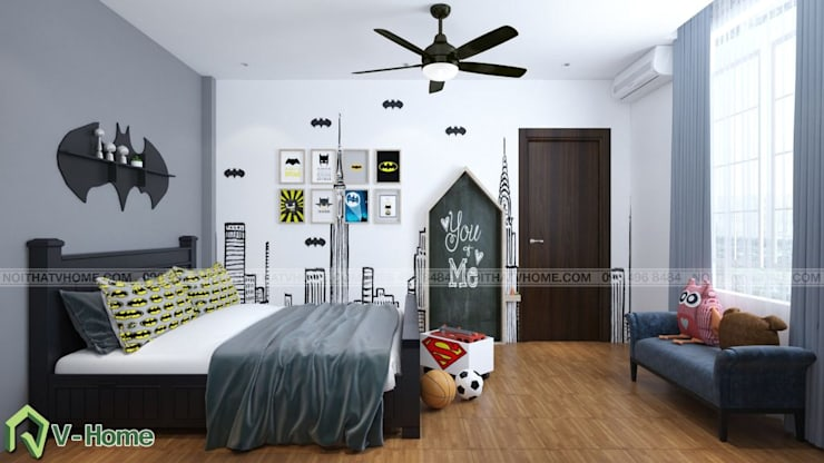 Thiết kế nội phất phòng ngủ trẻ em – batman:  Bedroom by Công ty CP tư vấn thiết kế và xây dựng V-Home