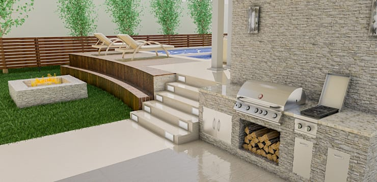 Área de parrillera Piscinas de estilo moderno de Sixty9 3D Design Moderno