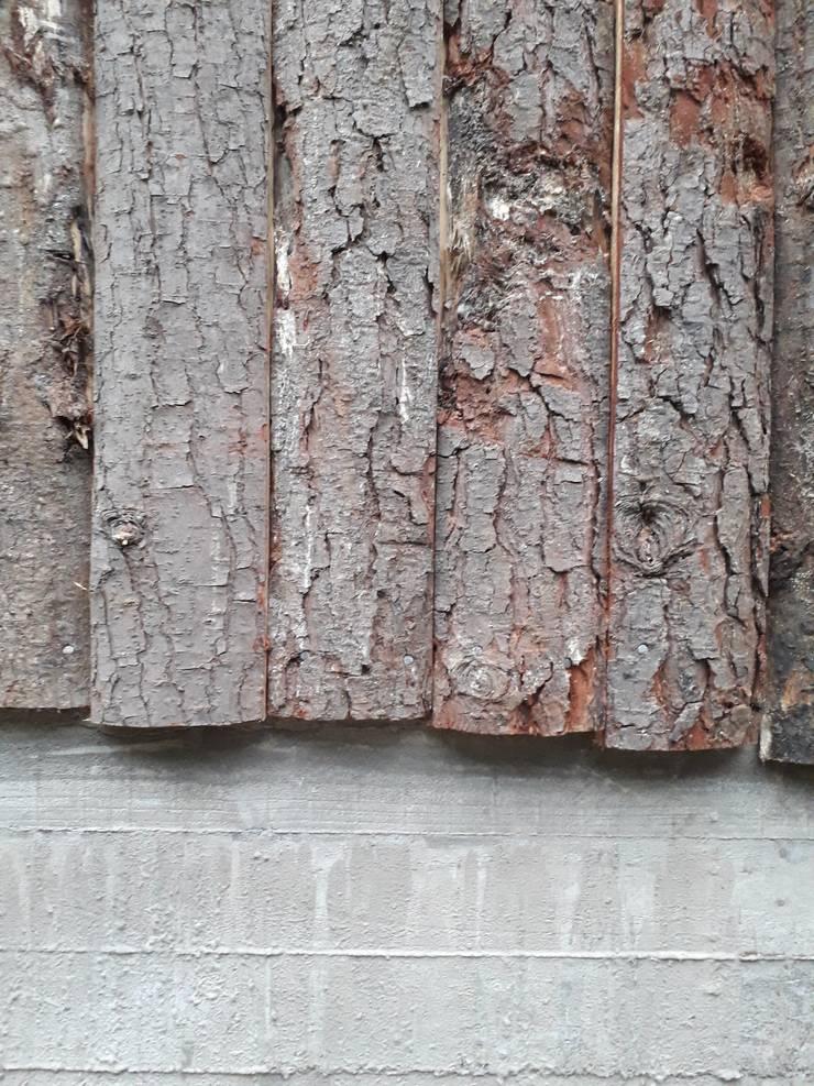 Detalle Revestimiento Casa Bosque: Casas de campo de estilo  por L2 Arquitectura