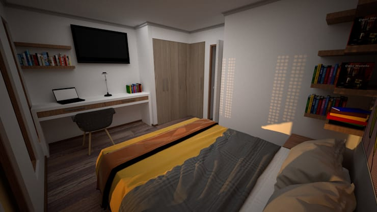 Imágen Objetivo Dormitorio, Ampliación Casa La Reina, Santiago:  de estilo  por MÜR Rukafe