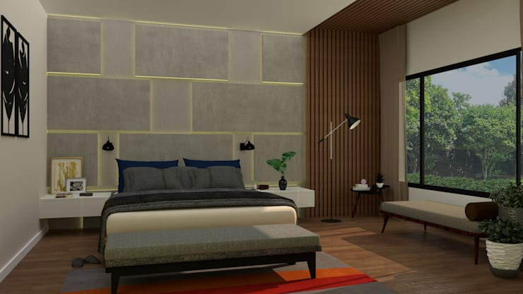 Master bedroom:  Bedroom by PSR Architecture, Modern