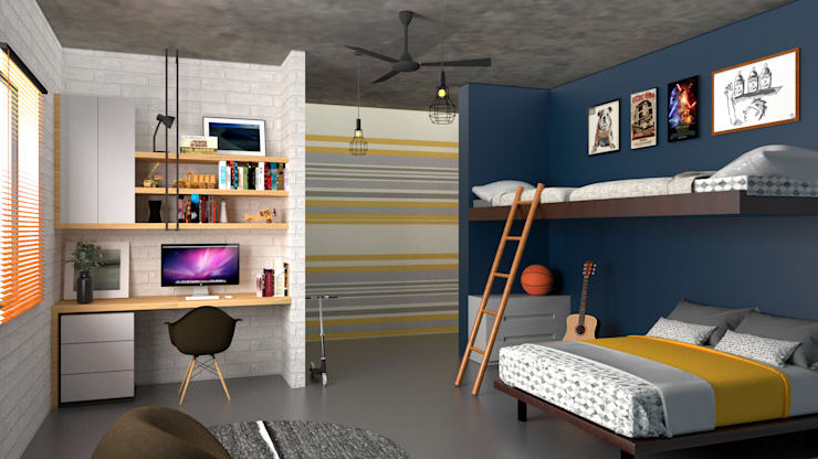 Boy's bedroom:  Small bedroom by PSR Architecture, Modern