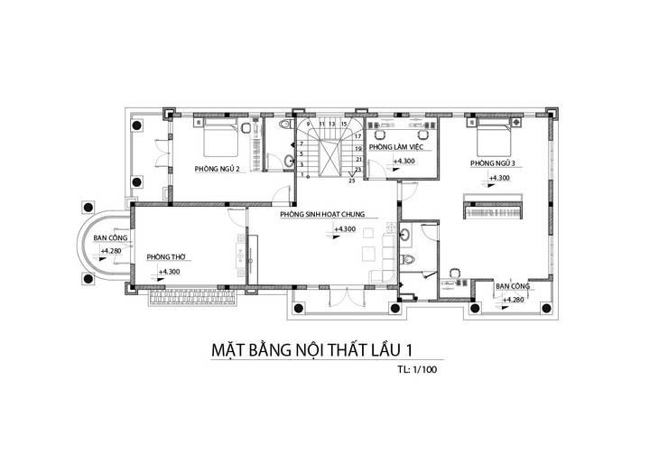 Mặt bằng nhà phố lầu 1:  Nhà gia đình by TNHH xây dựng và thiết kế nội thất AN PHÚ CONs 0911.120.739
