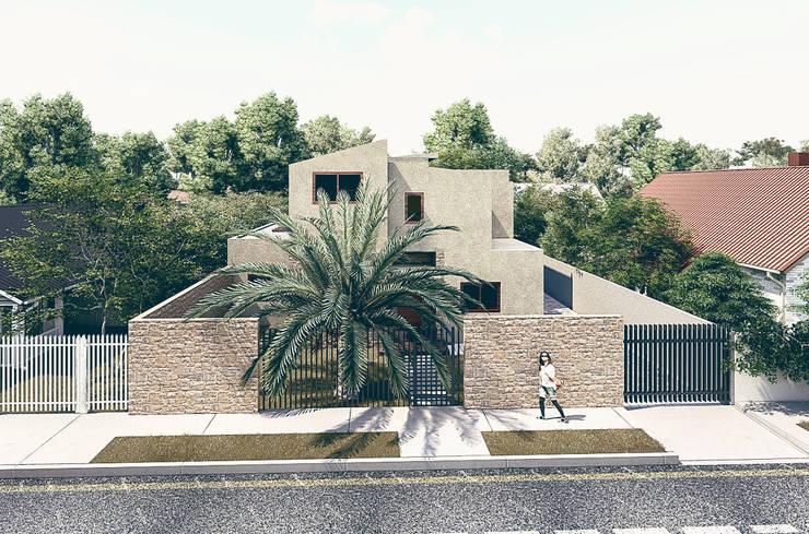 Fachada Principal: Antejardines de estilo  por RAS Arquitectos