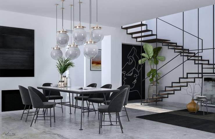 NOIR - 3D project Minimalistische Wohnzimmer von Santoro Design Render Minimalistisch