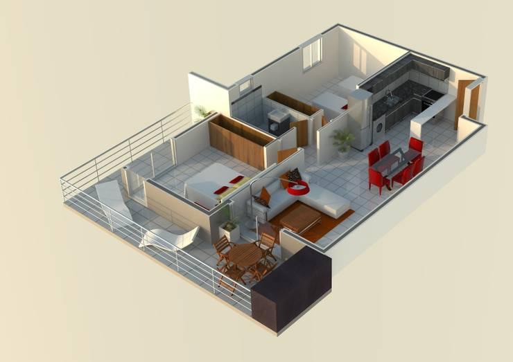 DEPARTAMENTO DE 2 DOMITORIOS: Dormitorios de estilo  por Acosta Arquitecta,