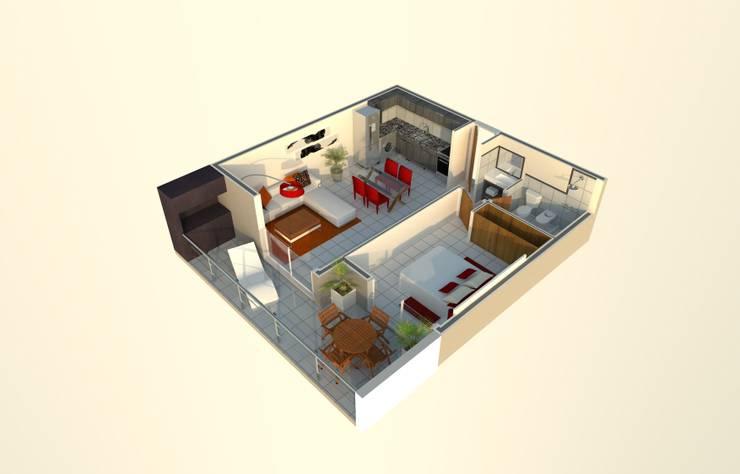 DEPARTAMENTO DE 1 DORMITORIO: Dormitorios de estilo  por Acosta Arquitecta,