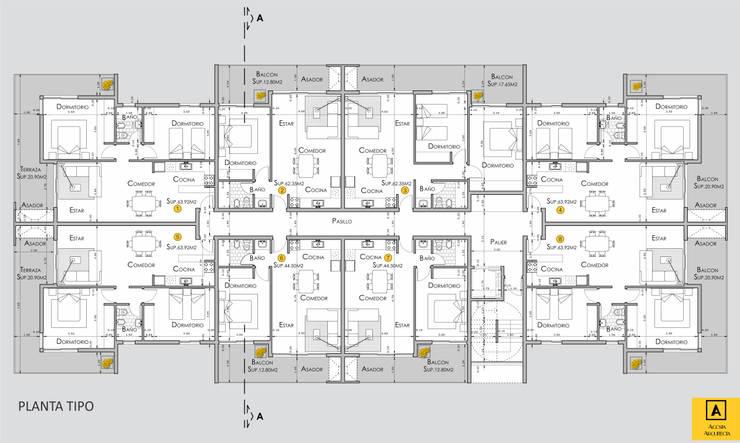 DESARROLLO DE DEPARTAMENTOS DE 1 Y 2 DORMITORIOS:  de estilo  por Acosta Arquitecta,