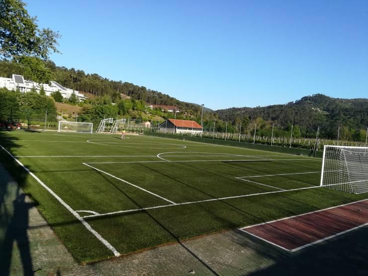 Instalación de césped artificial para campos de fútbol y áreas de deportes: Estadios de estilo  de Albergrass césped tecnológico