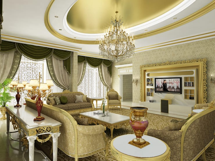 Living Room -1 / Pearl Palace Livings de estilo clásico de Sia Moore Archıtecture Interıor Desıgn Clásico Madera maciza Multicolor