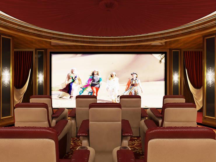 Home Theater Room -1 / Pearl Palace de Sia Moore Archıtecture Interıor Desıgn Clásico Madera maciza Multicolor