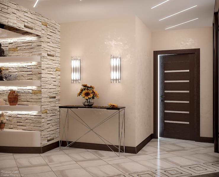 Projekty,  Korytarz, przedpokój zaprojektowane przez Студия интерьерного дизайна happy.design, Nowoczesny