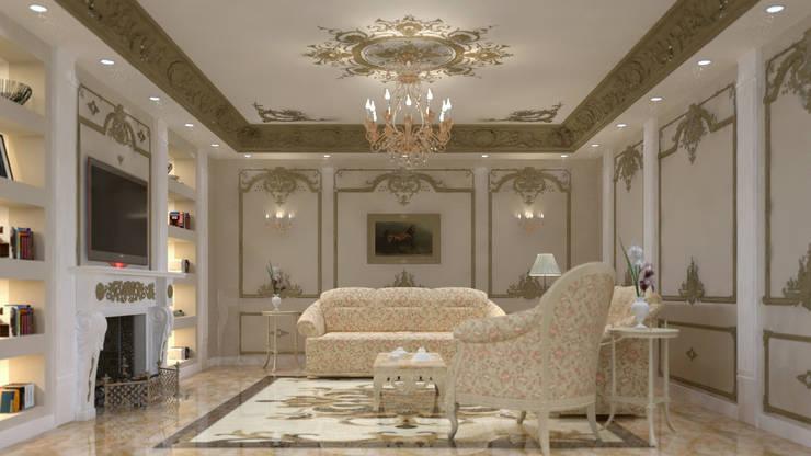 شقه فى الشيخ زايد:  غرفة المعيشة تنفيذ lifestyle_interiordesign,