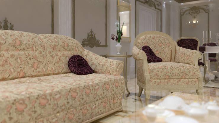 شقه فى الشيخ زايد:  غرفة المعيشة تنفيذ lifestyle_interiordesign