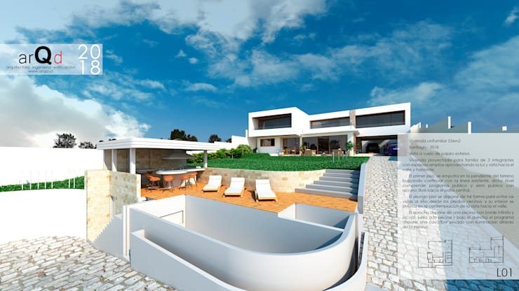 Casa Tiberiades Exterior: Casas unifamiliares de estilo  por ARQD spa